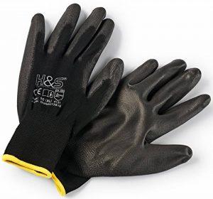 12 paires de gants de travail par ISC H & S, nylon, enduit de PU ; disponible en S petit (7), M moyen (8), L large (9), XL x-large (10), XXL xx-large (11) ; sans couture, polyvalent, noir de la marque ISC Hygiene & Safety image 0 produit