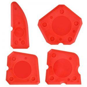 4 Pièces Ensemble d'Outils de Calfeutrage en Silicone KitLisseurs de Joints pourCoulis d'Étanchéité Silicone Finition de Cachetage(Rouge) de la marque Hotop image 0 produit