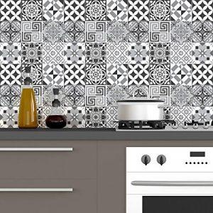 60 Stickers adhésifs carrelages   Sticker Autocollant Carrelage - Mosaïque carrelage mural salle de bain et cuisine   Carrelage adhésif - nuance de gris élégants - 10 x 10 cm - 60 pièces de la marque Ambiance-Live image 0 produit