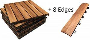 72x dalles de terrasse en bois dur + 8Stright Bords. Le célèbre Click-deck Bois d'acacia pour terrasse, jardin, balcon, jacuzzi. 30cm carré Deck pour carrelage de la marque Click-Deck Products image 0 produit
