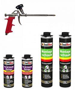 Lot de 2 x 750 ml de mousse de polyuréthane monocomposante de construction/montage pour pistolet - Avec 2 nettoyants et un pistolet à mousse de la marque Isolbau image 0 produit