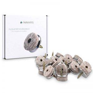 Navaris 20x Patins à vis en feutre - Patins à visser 25 mm pour protection du sol pour chaises et meubles - Feutre et métal - Rond de la marque Navaris image 0 produit