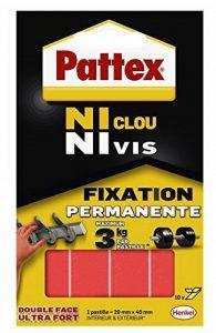 Pattex Pastilles adhésives double face Ni clou ni vis - Fixation ultra forte et extra résistante - 1 x 10 pastilles - 20 mm x 40 mm de la marque Pattex image 0 produit