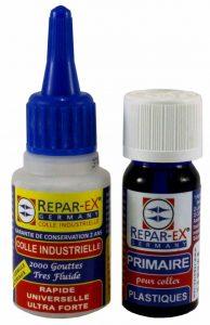 Repar eX. Lot de colle Repar-ex une Colle Repar-ex de 20 g et 1 Primaire d'Accrochage de 10 ml(Spéciale Plastique) de la marque Repar-eX image 0 produit
