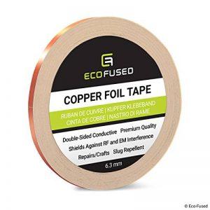 Ruban adhésif en cuivre de qualité supérieure - Conducteur à double face - 0,25 po (6,3 mm) - Protection contre les interférences EM et RF, Circuits papier, Réparations électriques, Mise à la terre de la marque ECO-FUSED image 0 produit