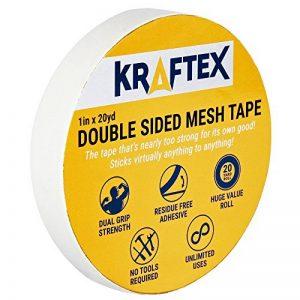 -Ruban double face tout usage, pour montage, tapis, planchers - Adhésif extra fort - Ruban adhésif pour bois, stratifié, carrelage et plus - Colle à n'importe quelle surface de la marque Kraftex image 0 produit