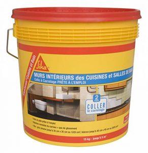 SikaCeram Cuisine et bain - Colle à carrelage en pâte - facilité de pose murale (D2-ET) - 15kg - Blanc de la marque Sika Corporation image 0 produit