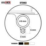 STEIGNER Joint de Porte et de Fenêtre STD03 10 m 8 mm Joint d'Étanchéité en Caoutchouc Noir PVC Aluminium de la marque STEIGNER image 3 produit