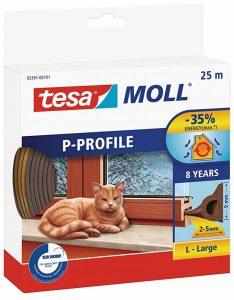 Tesa 05391–00101–00- Joint d'isolation en caoutchouc pour portes et fenêtres - P Profile - Marron de la marque Tesa image 0 produit