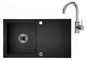 Évier de cuisine Granit 44 x 76 cm avec égouttoir réversible + siphon + lavabo pivotant à 360° en forme de robinet de cuisine de la marque VBChome image 0 produit